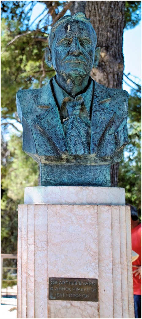 The bust of Sir Arthur Evans at Knossos Palace Archaeological Site, Heraklion, Crete