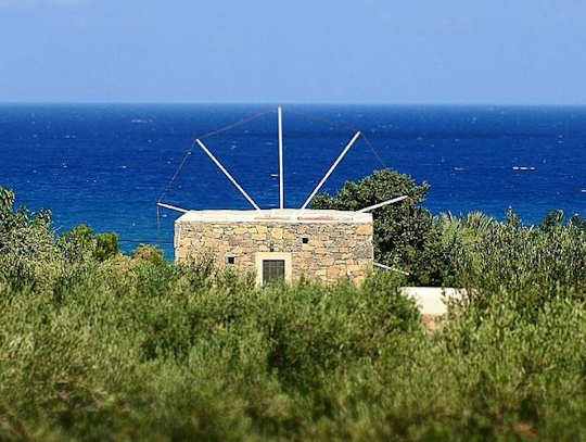 Sitia Windmill by the sea with olive groves