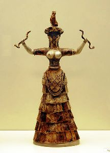 Minoan Snake Goddess ceramic figuerine from Knossos