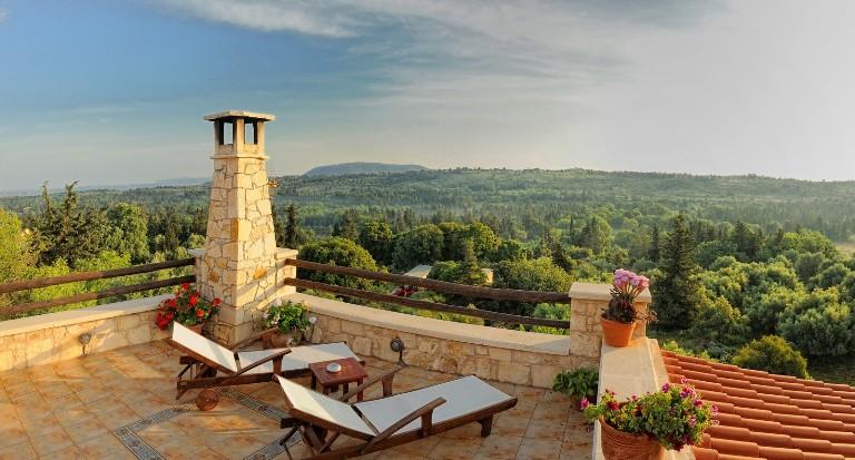 Strofilia Villa Rooftop showing the surrounding forest, Sellia, Crete