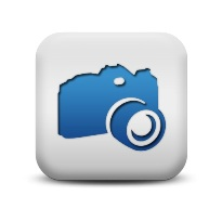 blue and white pearl camera icon