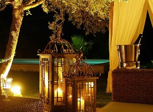 Luxury accommodation - night time on the balcony at Classical Spa Suites, Rethymnon