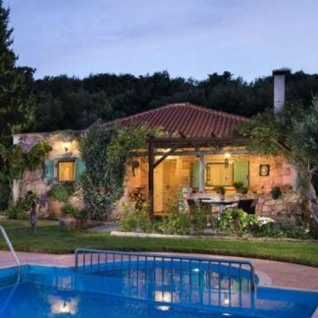 Villa Petra is surrounded by olive groves