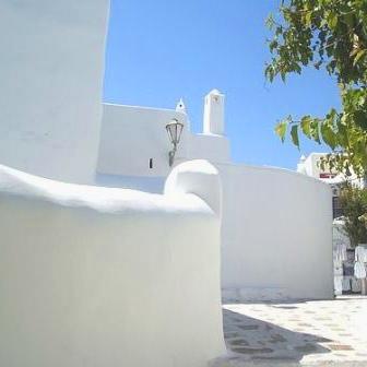 Bright white architecture in Mykonos
