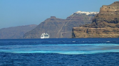 The fast ferry from Heraklion port to Santorini Thira takes 2 hours