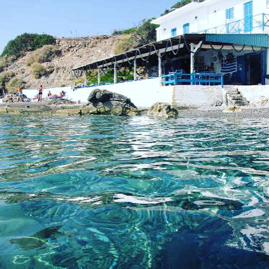At Agia Fotia Taverna you can rent rooms above and enjoy this tiny little hidden beach