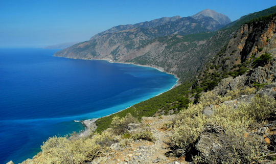 Agios Pavlos Beach as seen from the E4 walking path (image by Mark Latter)