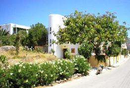 Aris Hotel, Paleochora - exterior with entrance and gardens