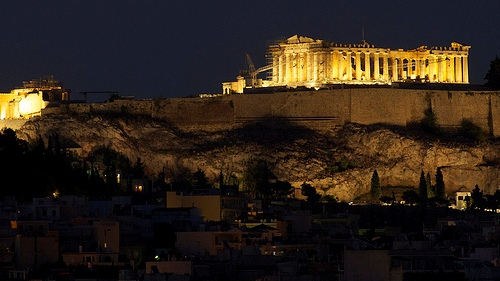 Athens with the Parthenon lit up at night