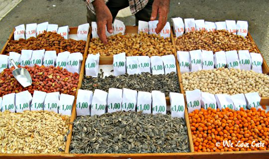 Nuts for sale before the game at Irini Stadium