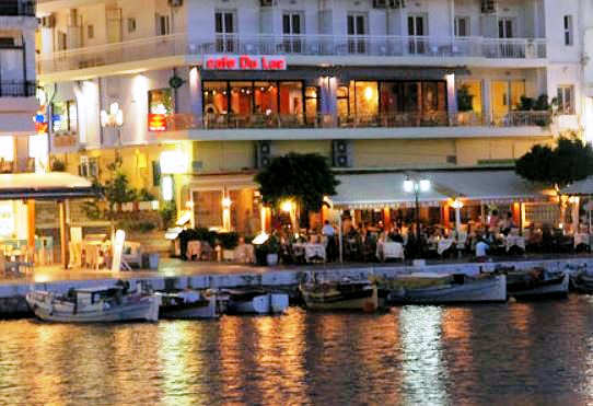 Cafe du Lac and Hotel du Lac sit on the Lake in Agios Nikolaos