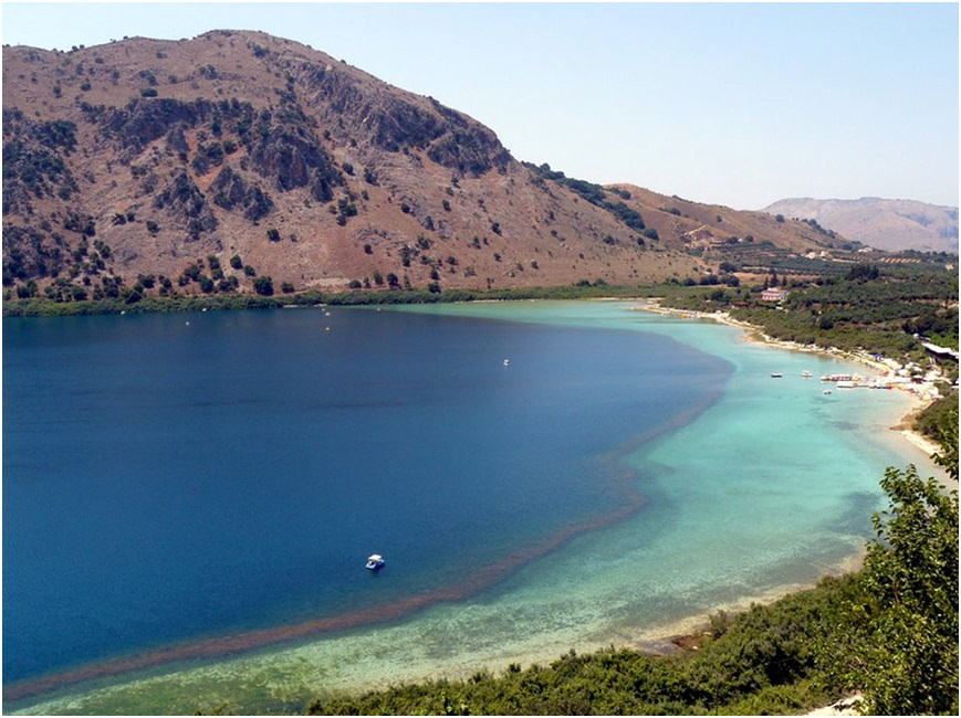 Lake Kournas - colours dark blue to turquoise and hills all around