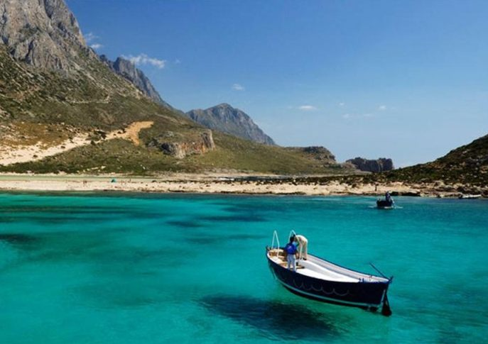 Balos Lagoon - clear turquoise waters, fishing boat