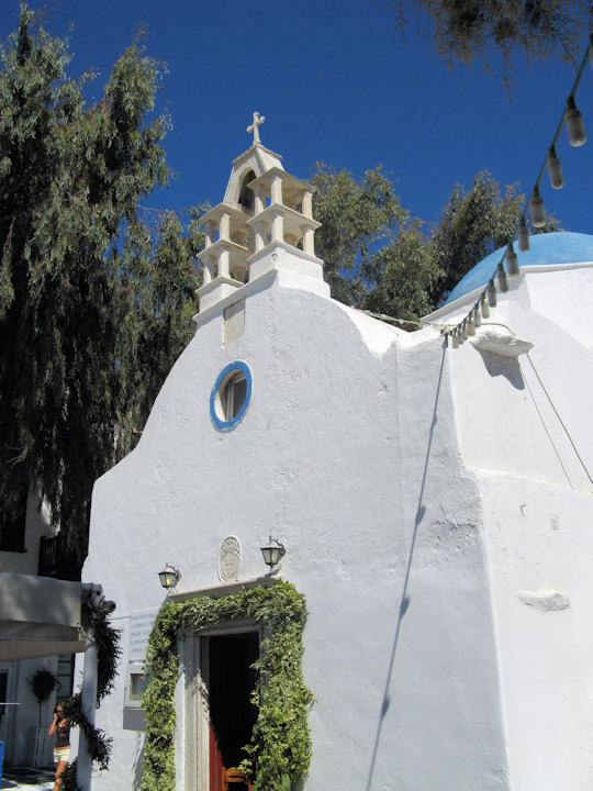 Sweet little church in the courtyard of Little Venice, Mykonos (Catholic Church)