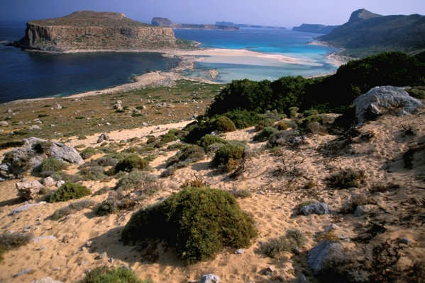 Balos Lagoon and Gramvousa Islet on the north-western tip of Crete, Greece