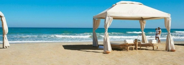 A massage tent on the beach