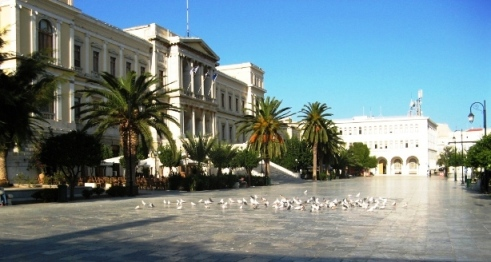 The impressive marble square and Town Hall in Ermoupolis, Syros