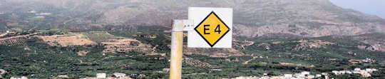 E4 Walking Path - Black and Yellow Marker sign