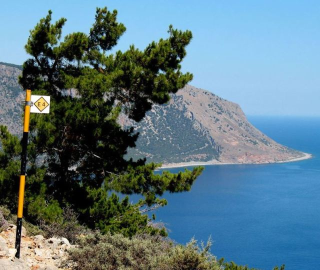 E4 European Walking Path marker on the path to Loutro Crete