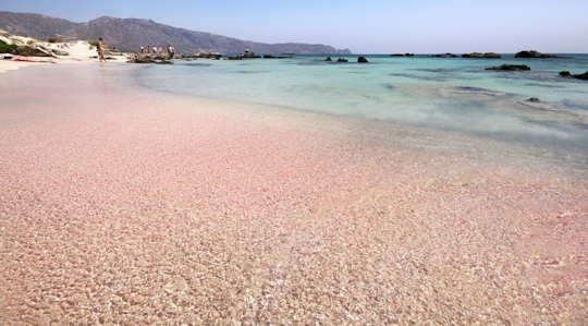 The pink sands of Elafonisi Beach in Crete