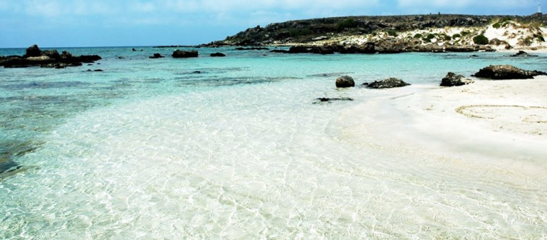 Elafonisi Beach has clear turquoise waters and fine sand