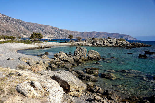The beaches between Paleochora and Elafonisi are rocky and provide many options for relaxing at tiny sandy coves