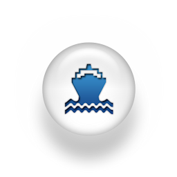 Blue and white ferry icon