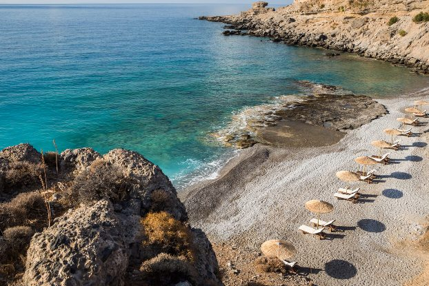 Filaki Beach has clothing optional areas and is safe and family friendly, just 3 km east of Chora Sfakion