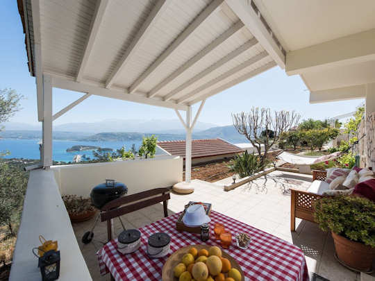 Gardenia Guest House with sweeping views across Souda Bay in Chania, Crete