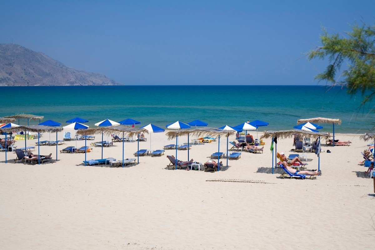 Georgioupolis Main Beach with umbrellas