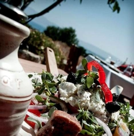 Crete Diet - fresh salad with feta cheese served at the Gramvousa Taverna