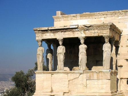 The caryatids Καρυάτιδες of the Erechtheion, an ancient Greek temple on the north side of the Acropolis of Athens