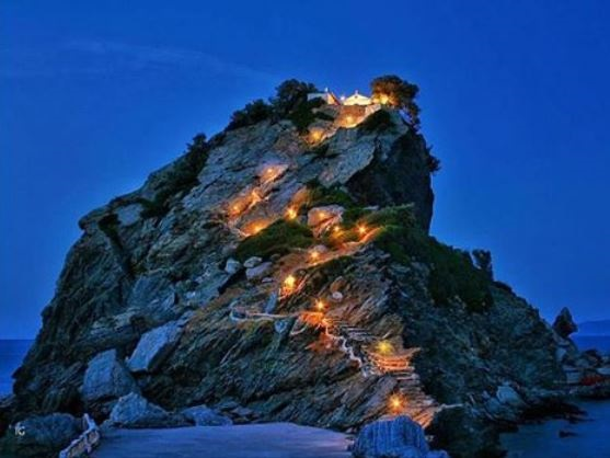 Romantic candlelit chapel in Skopelos