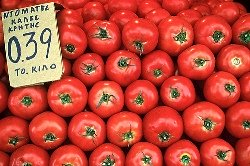 Fresh tomatoes at a street market in Crete