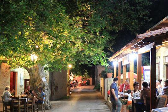 Kaliviani Village street with tavernas