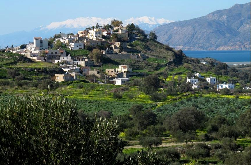 Kamilari Village sits surrounded by olive groves a little inland from the coast, overlooking the Libyan Sea