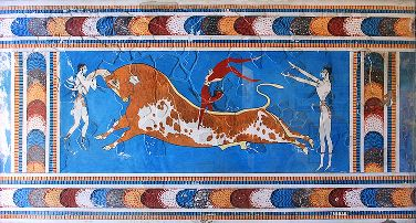 Bull Leaping Fresco - Minoan Artwork