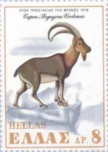 Kri Kri goat depicted on a stamp