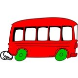 Little red bus cartoon