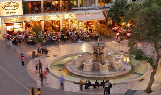 The Liondaria fountain is a central meeting place in Heraklion town