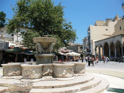 The Liondaria Venetian fountain in central Heraklion
