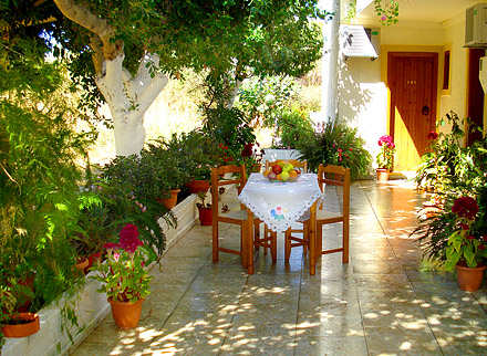 Electra Pension in Maleme Beach, Crete, courtyard
