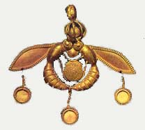 Bee pendant of the Minoans who made honey - this precious artifact was found near this site