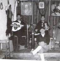 Cretan Music and Dance - black and white photo of musicians