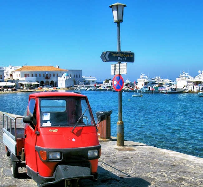 Harbour with Little Red Truck - no this is not a movie prop - it is a real local truck!