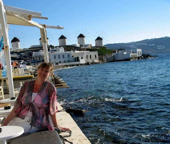 Enjoy the cafes near the windmills in Mykonos