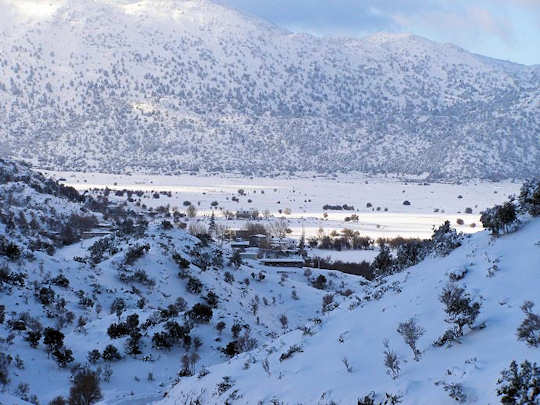 Crete in snow - Omalos Plateau in the White Mountains of Chania