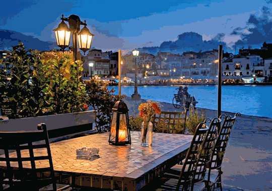 Palazzo di Mare taverna is next to the old harbour in Chania Crete