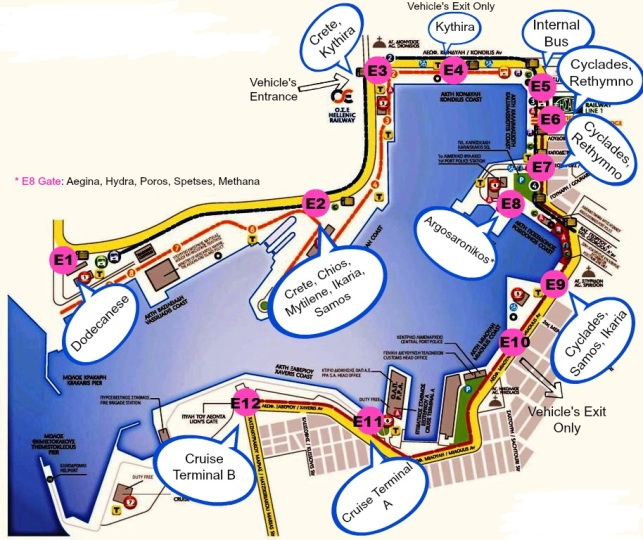 Pireaus Port - Map of Docks per Destination