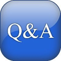 Blue Button with Q&A in white